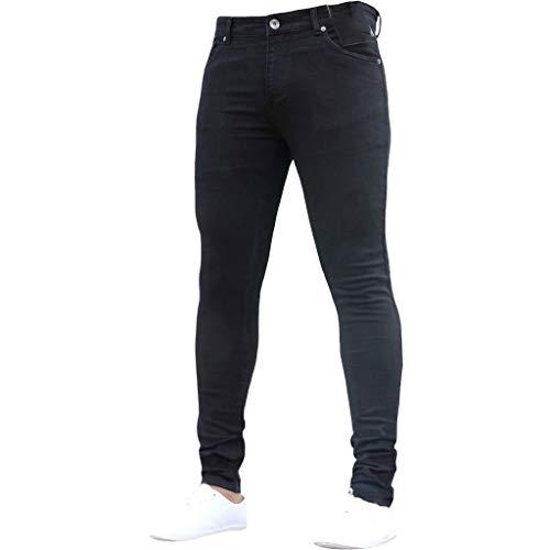 Subfamily Pantalón Slim Denim de Color Liso para Hombre, Pure Color Denim Cotton Vintage Wash Hip Hop Pantalones de Trabajo Jeans Pantalones Negro M