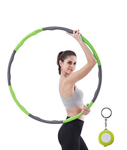 bluenergy Hula Hoop Reifen Erwachsene Fitness Hula Hoop zur Gewichtsreduktion,Reifen mit Schaumstoff Gewichten Einstellbar Breit,8 Abschnitt Abnehmbares Design(1.05kg) mit Mini Bandmaß (Green)