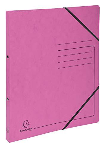 Exacompta 542557E Raccoglitore 2 anelli di 1,5 cm dorso 2 cm in cartoncino lucido con stampa di righe chiusura con 2 elastici per conservare i documenti. Rosa