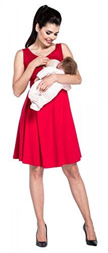 Zeta Ville – Stillen A-Linie Kleid Schwangere Tiefer V-Ausschnitt – Damen – 685c (Rot) - 3