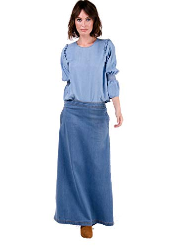 Wash Clothing Company Lottie Falda Vaquera Larga - Luz Azul Falda Maxi EU36-50 LOTTIEPW-18