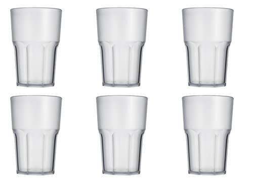 """Garnet Satinato Bicchiere Riutilizzabile """"Granity 40 Set da 6 Pezzi – Lavabile in lavastoviglie-40 Bordo/ 33-35 cl a Servizio-Made in Italy, microliters, Plastica"""