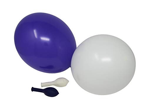 50 Luftballons je 25 royal lila & weiß Qualitätsballons 27 cm Ø (Standardgröße B85)