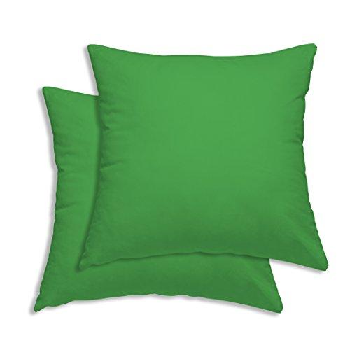 Leonado-Vicenti Confezione da federa per cuscino 50x 50cm Verde Tinta Unita Cotone