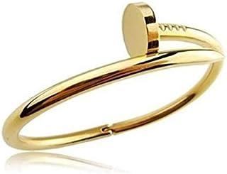 Designer Inspired Pleated Golden Titanium Steel Nail Cuff Bangle Bracelet Nail Love Bangle Bracelet for Women Men