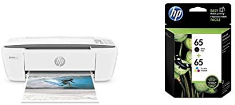 HP DeskJet 3755 Compact All-in-One Wireless Printer with Mobile Printing, HP Instant Ink & Amazon Dash Replenishment ready - Stone Accent (J9V91A) with Std Ink Bundle