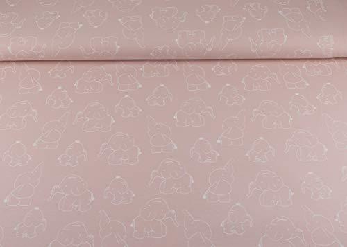 SK Stoffe I Toller Baumwoll Jersey Stoff Meterware mit dem Muster I niedliche Elefanten I in salmon (032) I Maße: 25 cm x ca. 145 cm und ca 220g/m² in 1A ÖKO-TEX Qualität I Kinderstoffe I Tierstoffe