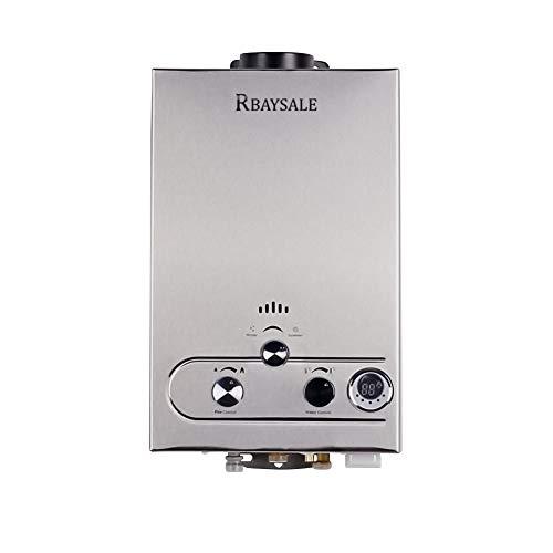RBAYSALE Calentador de Agua de Gas, Gas Butano para Toda la Casa Baño al Aire Libre Ventilación Directa sin Tanque 1200W Con Tanque de Agua de Cobre Puro (6L)