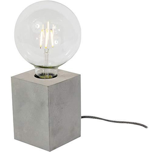 Neoly Design-Tischleuchte Cube Beton Cubus mit Textilkabel und LED-Filament-Deko-Glühbirne (Ø 9cm) [Energieklasse A+]