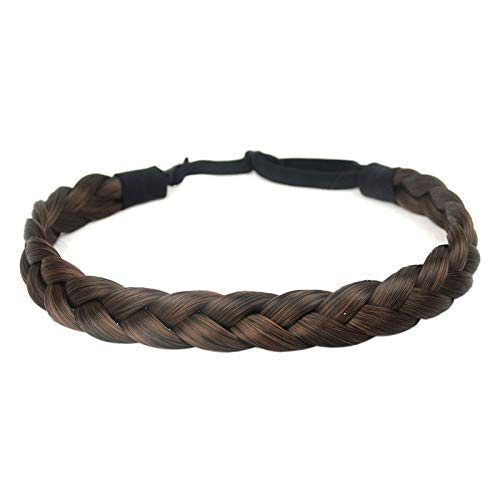 DIGUAN Synthetic Hair Braided Headband Classic Chunky Wide Plaited Braids Elastic Stretch Hairpiece Women Girl Beauty accessory, 55g (#Copper Brown)