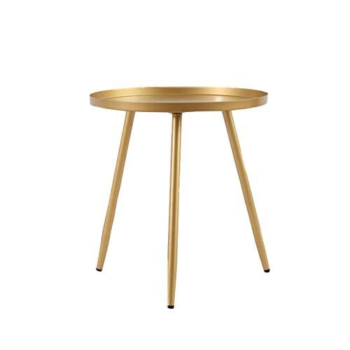 LWKBE Modern Metall Tray Beistelltisch Kaffee Accent Tisch, Sofa, Tisch, kleine runde Beistelltische für Outdoor & Indoor, Anti-Rost und Wasserdicht Snack Tisch, Wohnkultur,Gold