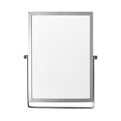 Boji Pizarra blanca / pizarra blanca, borrado en seco, pizarra blanca, pequeña pizarra, mini caballete, bloc de notas conmutable, color blanco con plata
