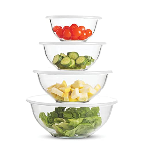 Superior Glass Mixing Bowls with Lids - 8-Piece Mixing Bowl Set with BPA-Free lids, Space-Saving Nesting Bowls - Easy Grip & Stable Design for Meal Prep & Food Storage -Glass bowl For Cooking, Baking