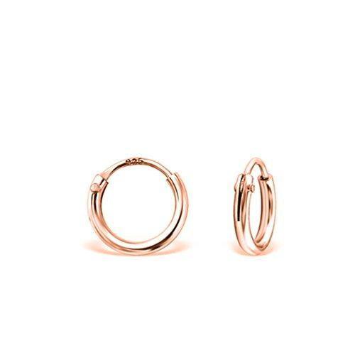 DTP Silver - Argento 925 placcato in Oro Rosa - Orecchini da donna piccoli a Cerchio - Spessore 1.5 mm - Diametro 8 mm