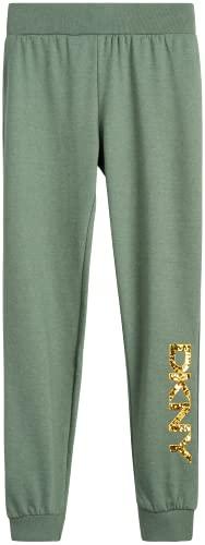 DKNY Girls' Sweatpants - Active Fleece Joggers (Little Girl/Big Girl), Size 6X, Heather Grey