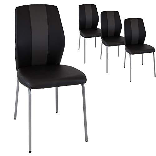 Albatros Esszimmerstühle Romeo, 4-er Set schwarz, SGS getestet, gepolstert