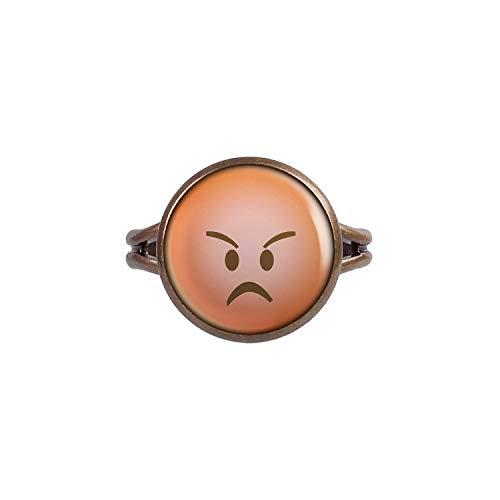 Mylery Anillo con Motivo emoticonos Emoji Sonriente de la Cara no. 29 Bronce 14mm