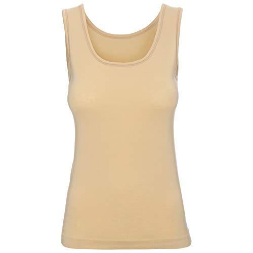 BRUBECK Damen Tanktop | T-Shirt ärmellos atmungsaktiv | Womens Tank Top Seamless Cotton | Oberteil ohne Arm | Trägertop | Achselhemd Alltag | 55% Baumwolle | Gr. M, beige | TA00510A
