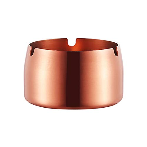 XYSTSM Página de inicio redondo de acero inoxidable resistente a altas temperaturas ceniceros escritorio portátil simple ceniza titular accesorios para fumar Rosegold