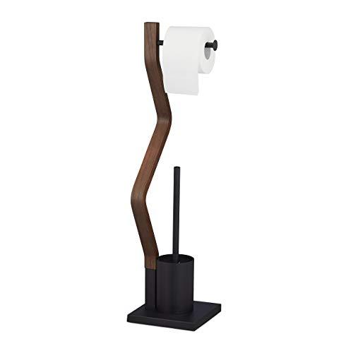 Relaxdays WC Garnitur stehend, Holz und Stahl, Toilettenpapierhalter mit Bürste, HBT 75 x 18,5 x 18,5 cm, schwarz/braun