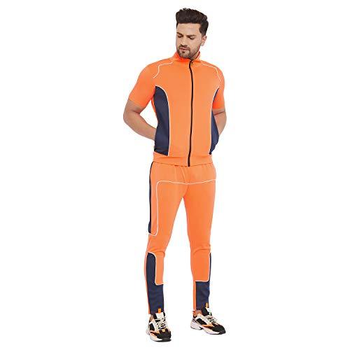 FUGAZEE Men's Neon Orange Scuba Piping Tracksuit