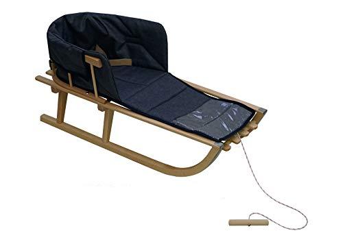 Holzschlitten für Kinder mit Rückenlehne Rodelschlitten Davoser Schlitten aus Holz mit einem Sicherheitsgurt und Matratze (Natur/dunkelblaues Leinen)