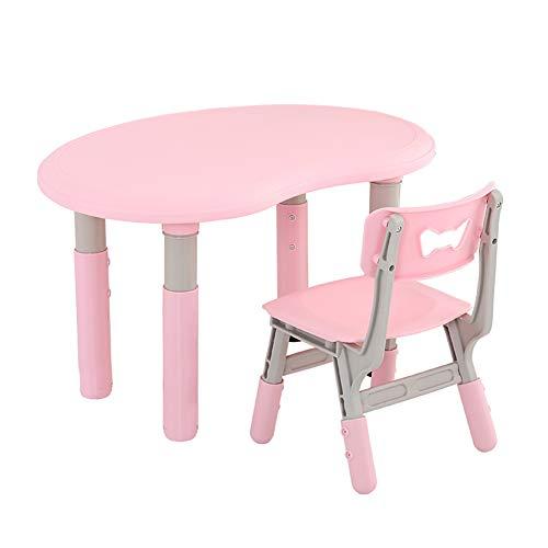 HJ-CGZ Kinder Cartoon Tisch und Stuhl Set, 7-Positionen für das Lernen Kleiner Tabelle angehoben und abgesenkt Werden, faszinierende, Luxus und bequemes Modell,Rosa