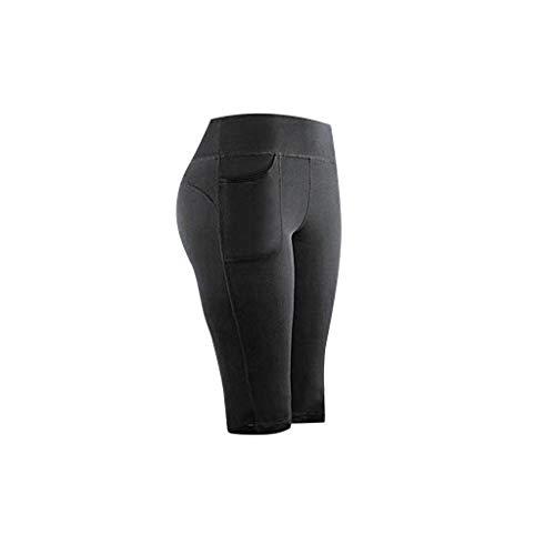 Skang Pantalón Deportivo de Mujer con Bolsillo Elásticos Mallas Running Fitness Gimnasio Yoga Leggings | Largos Capri | Leggins Cortos