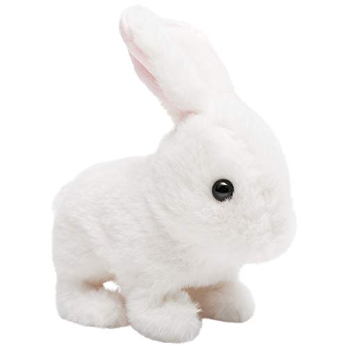 HollyHOME Plush Rabbit Easter Electronic Interactive Toy Jumping,Wiggle Ears,Mouth Moving Bunny Toy 7 Inches White Gifts for Kids