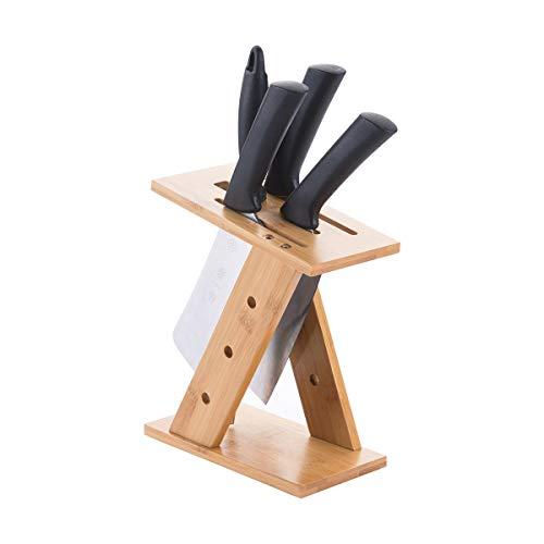 Hosoncovy Soporte para cuchillos de bambú en forma de Z