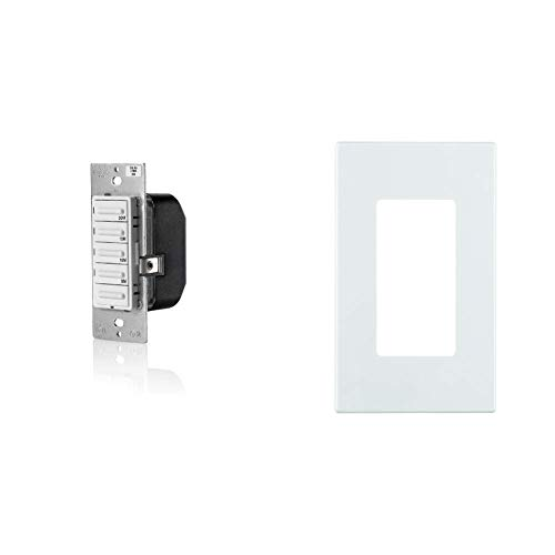 Leviton LTB30-1LZ Decora 1800W Incandescent/20A Resistive-Inductive 1HP Preset 5-10-15-30 Minute Countdown Timer Switch, White/Ivory/Light Almond with Screwless Wallplates, 2-Pack