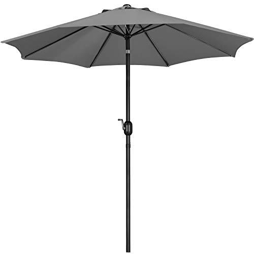 Yaheetech 2.6m Patio Parasol Garden Umbrella Outdoor Table Parasol, with Tilt & Crank Handle & 8 Ribs, for Deck/Backyard/Pool, Gray