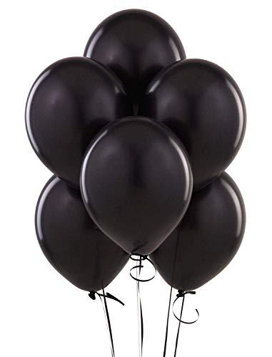 SHATCHI-Globos de látex de Calidad de Helio de 10 x 30,5 cm, Liso, Color Negro, Pack de 25 (Gifts 4 All Occasions Ltd 11148)