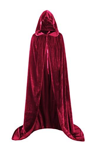 Fit Design Unisex Velvet Halloween Cape Full Length Hooded Cloak Adult Costume(Burgundy/Size XL)