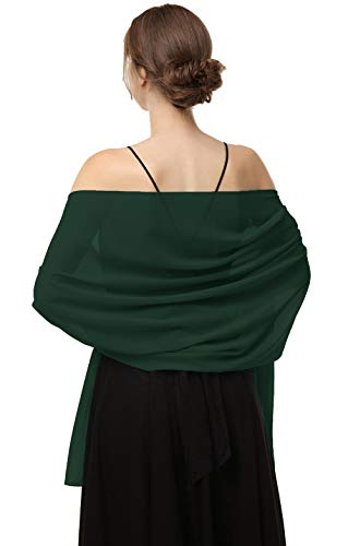 """Shawls Scarves Wraps For Dresses Soft Chiffon Scarf Wedding Stole For women (Green, Length(79"""") Width(19""""))"""