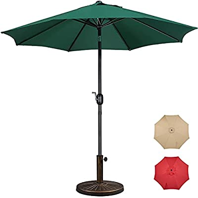 Yaheetech 9FT Garden Table Umbrella with 22lbs Base Stand, Patio Market Umbrella with Push Button Tilt,Crank and 8 Sturdy Ribs, Aluminum Outdoor Patio Umbrella Base Included Heavy Duty - Dark Green