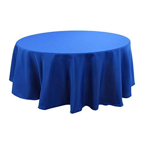 N/A - Mantel Redondo para Mesa de 8 Patas de poliéster Lavable, Impermeable, 87 Pulgadas, diámetro Azul Real, Ideal para Mesa de aparador, Fiestas, cenas de Vacaciones, Bodas