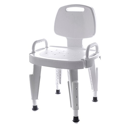 SP Ableware Shower Seat with Height Adjustable Legs, Non-Slip Feet and Removable Back/Arms – Plastic, White (727142121)