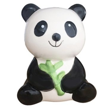 BESTRADA USA Cute! Ceramic Panda Bear Coin Saving Bank with Bamboo (H4.7 x W3.5 x D2.7)