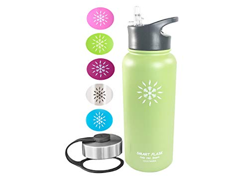 Smart Flask 32oz Stainless Steel, Wide Mouth, Insulated Water Bottle with Solid, Hard, one Piece Biteproof Straw Lid (Lime)
