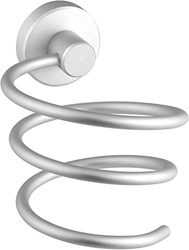 Dulcicasa Soporte para secador de pelo mate, montaje en pared, soporte en espiral, soporte para secador de pelo, accesorio de baño