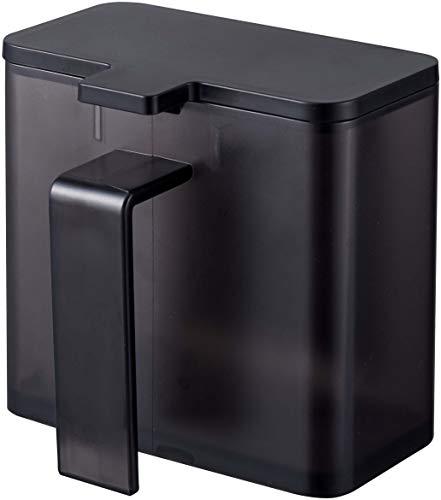 山崎実業(Yamazaki) マグネット調味料ストッカー タワー ブラック 約11X9X10.5cm タワー 調味料入れ すりきりできる 小さじ付き 4818