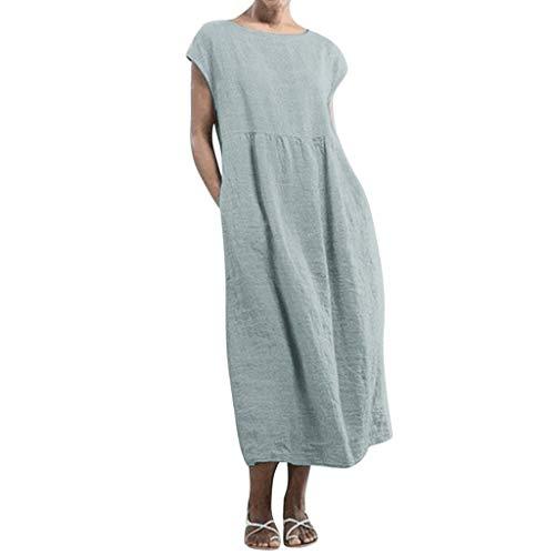 NAQUSHA Vestido largo para mujer de talla grande, sin mangas, con bolsillos en el cuello en O, algodón, lino, suelto, holgado, para playa