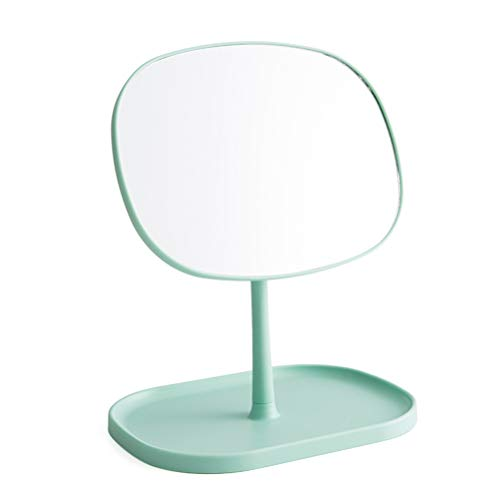 Lurrose Miroir de maquillage de vanité de table Miroir cosmétique à une face Miroir pivotant en forme de princesse Miroir détachable portatif pour salle de bains