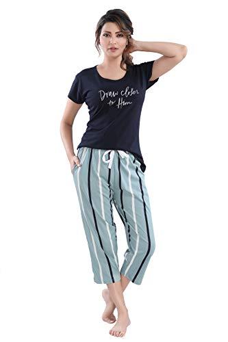 DZZO Cotton Black T-Shirt & Striped Printed Capri Set/Pyjama Set/Night...
