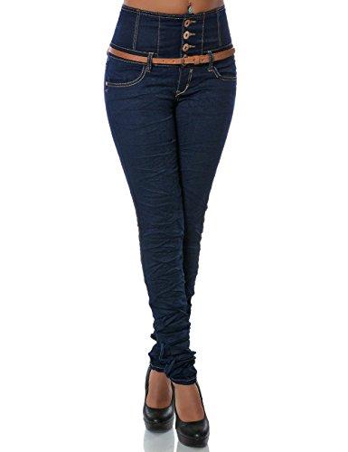 Daleus Damen High-Waist Jeanshose Skinny Jeans Stretch Gürtel DA 14083 Farbe Blau Größe M / 38