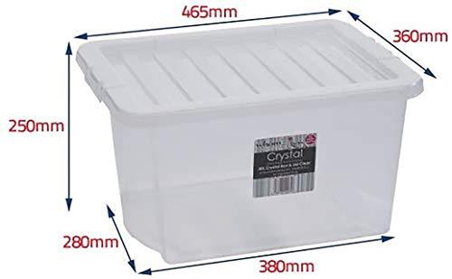 Caja de Almacenamiento de Plástico con Tapa de Wham - Cajas de Apilables - La Casa, Oficina, Dormitorio Caja de Almacenamiento de Juguetes, Contenedores Espaciosos con Tapas, Paquete de 5, 30 Litros