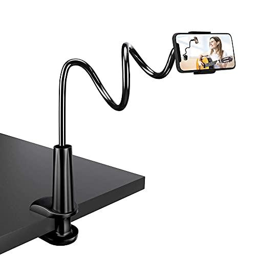 Zoeley Handy Halter, Handy Halterung Schwanenhals Flexible Arm Verstellbare Handy Ständer Bett für iPhone 12 Mini 12 Pro Max 11 Pro XS Max XR X 8 7 6S Plus, Samsung S10 S9 S8 S7, 4-6,5 Zoll Smartphone