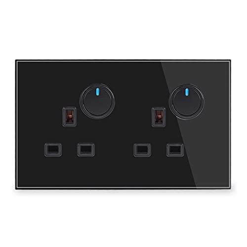 HLY-CASE Panel de Vidrio Completo 2 zócalo de Pared de pandillas 2 Gang 2 Way ON/Off Pass a través del Interruptor de luz Indicador LED conmutado Diseño Elegante (Rated Voltage : 250V, Type : Black)