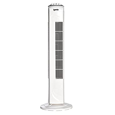 Igenix DF0030 Oscillating Tower Fan, 30 Inch, 3 Speed Settings, 2 Hour Timer with Auto Shut Off, White